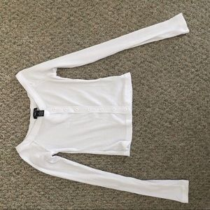 Rue 21 off the shoulder white long sleeve crop top